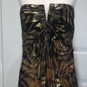 Nicole Miller Black and Gold Grecian Inspired Gown